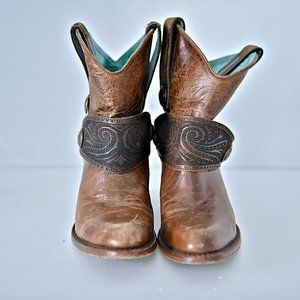 Corral Tan Engraved Harness Short Top Boots